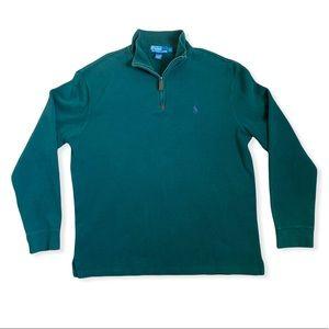 Ralph Lauren Polo Quarter-Zip Cotton Sweater - Grn